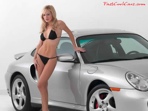 sexy blonde model with a 2002 Porsche 911