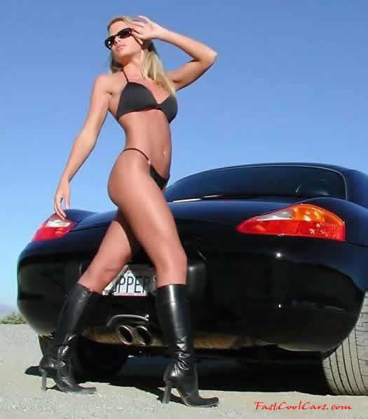 beautiful lady and cool car