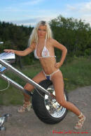 Pretty lady on motorcycle
