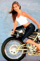 pretty woman on a motorcycle