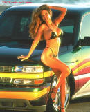 Chevrolet Show truck with cool custom paint job, pretty woman