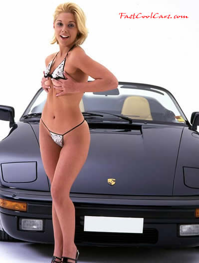 Porsche Speedster with sexy lady model.