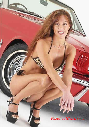 Classic Ford Mustang convertible, pretty lady