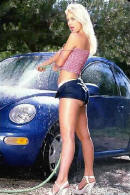 pretty lady washing her bug