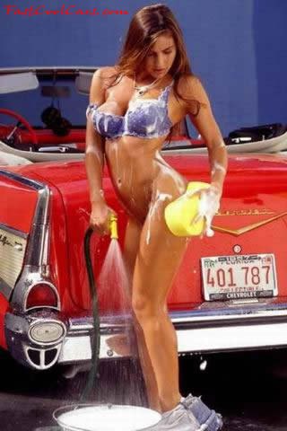 college girl washing her classic Chevrolet