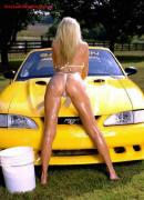 Sexy blonde lady with nice yellow Cobra convertible.