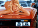Lovely Blonde lady half naked on a Ferrari sports car.