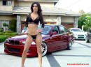 Very Beautiful and sexy lady with her lowrider BMW.